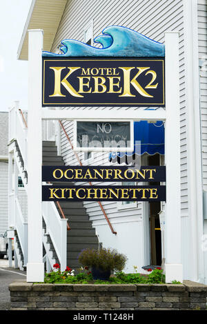 Sign for Kebek2 Motel in Old Orchard, Maine, USA. - Stock Image