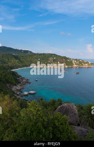 Ko Tao island view from the high rocky hill, Thailand - Stock Image