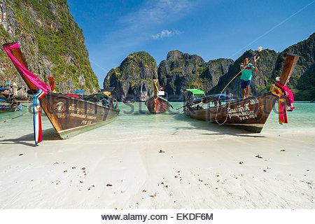 Maya Bay - Koh Phi Phi Ley island - Thailand - Stock Image