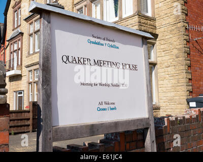 Quaker meeting house sign, Temple Street Llandrindod Wells, Powys Wales UK. - Stock Image