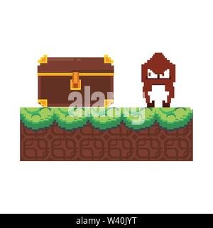 Videogame pixelated character in scenery - Stock Image