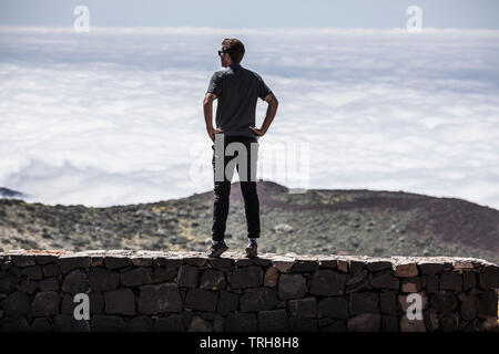 Tim Kerrison, Team INEOS  (formerly Team Sky) overseeing altitude training near Mt Teide in Tenerife, in preparation ahead of the Tour de France 2019. - Stock Image