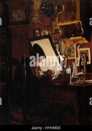 Charles Frederic Ulrich  etcher in his studio - Stock Image