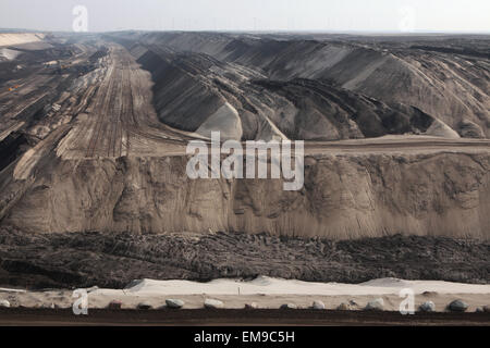 Open-pit coal mining Cottbus Nord near Cottbus, Lower Lusatia, Brandenburg, Germany. Huge open-pit coal mining by - Stock Image
