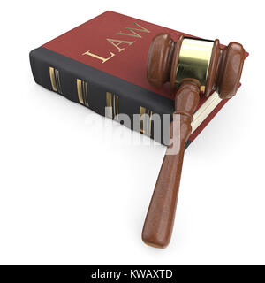 Law book and hammer. 3D render. - Stock Image