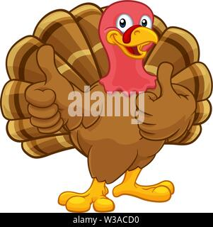 Turkey Thanksgiving or Christmas Cartoon Character - Stock Image