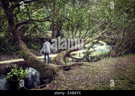 Boy on tree over river with light path - Stock Image