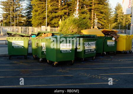 Industrial  rubbish disposal bins, Fremantle, Western Australia - Stock Image