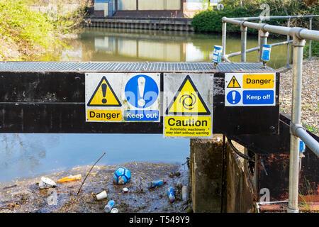 Hazard warning notices - Stock Image