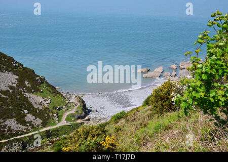 Looking down into Heddon Valley, from the footpath heading up the cliff away from the valley, Devon, UK - Stock Image
