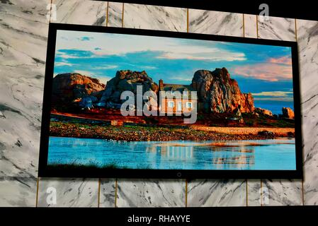 Samsung 'The Wall' 219-inch MicroLED TV (television) in exhibit booth at CES, world's largest consumer electronic show, Las Vegas, NV, USA - Stock Image