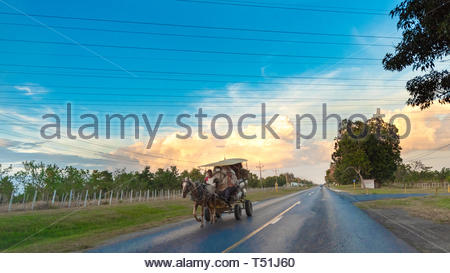 Motion blur of a horse-drawn carriage or cart driving in a rural road with a beautiful split-color sky typical of the sunset hours. - Stock Image