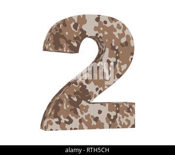 3D rendering Camouflage number 2 two. 3D render Illustration. - Stock Image