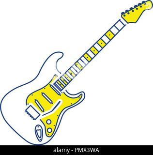 Electric guitar icon. Thin line design. Vector illustration. - Stock Image