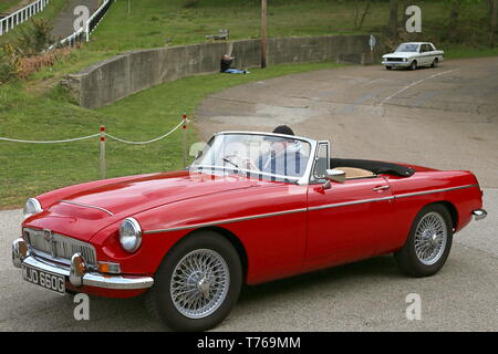 MG MGC Roadster (1968), British Marques Day, 28 April 2019, Brooklands Museum, Weybridge, Surrey, England, Great Britain, UK, Europe - Stock Image