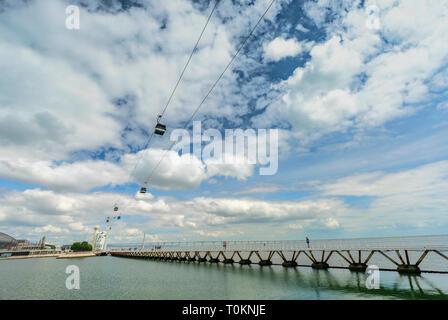Bridge at Lisboa promenade - Stock Image