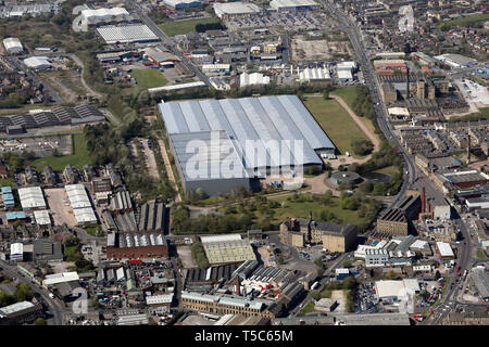 aerial view of the Listerhills area of Bradford , West Yorkshire featuring the Freemans Grattans warehouse - Stock Image