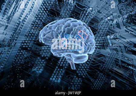 human brain communicating with a computers motherboard, artificial intelligence - Stock Image