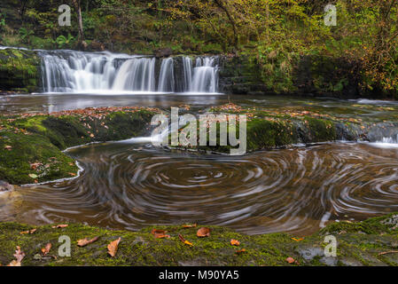 Waterfalls and whirlpools near Ystradfellte in the Brecon Beacons National Park, Wales. Autumn (October) 2017. - Stock Image