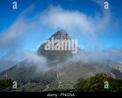 Lion's Head mountain, Cape Town, South Africa, as seen from Singnal Hill in the Table Mountain National Park - Stock Image