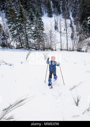 Rear view of a Girl walking down the ski slope in Black Forest, Germany, Europe - Stock Image