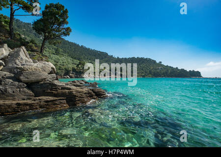 Beautiful rocky Greek coastline. - Stock Image