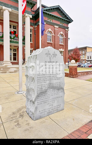 Stone monument or memorial  to a U.S. Civil War Confederate hero, William Thomas Overby, in the town of Newnan Georgia, USA. - Stock Image