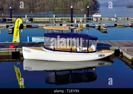 Canadian Electric Boat Company, Electric Boats Canada,Electric boat for hire,Bowness on Windermere,Lake District,Cumbria,England,UK - Stock Image