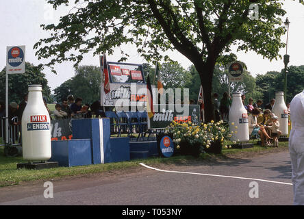 1970s, milk promotional at a cycle race, England, UK. - Stock Image