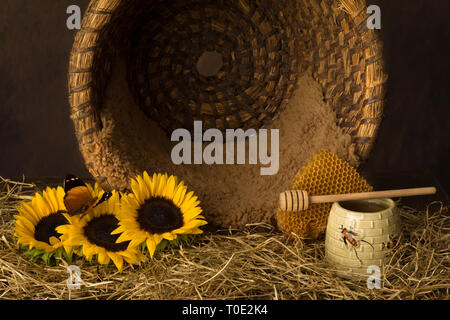 Vintage old beehive basket still life, can be used for baby composites - Stock Image