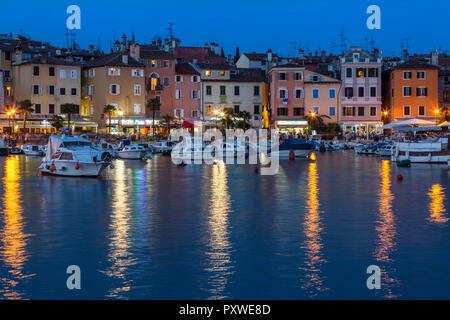Rovenj on the Istrian Peninsula in Croatia. The town is also know by its Italian name of Rovigno. Located on the western coast of the Istrian peninsul - Stock Image
