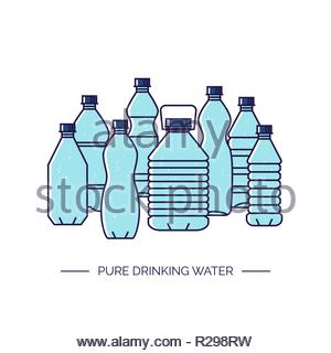 Pure drinking water. Line vector illustration of a group of plastic bottles isolated on white background. - Stock Image