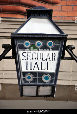 lamp, Secular Hall, Humberstone Gate, Leicester, England, UK - Stock Image