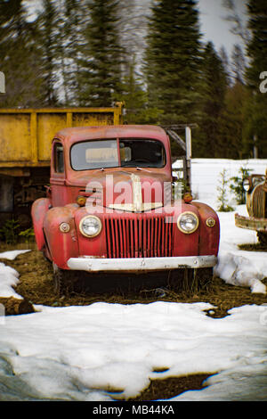The front of a red 1942 Ford stepside pickup truck, in a wooded area, in Noxon, Montana.  This image was shot with an antique Petzval lens and will sh - Stock Image