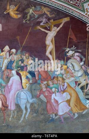 The Impenitent Thief with Devils, The Bad Thief with Devils, Andrea di Bonaiuto, 1365-1367,  Chapter House, Cappellone degli Spagnoli, Spanish Chapel, - Stock Image