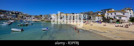 St Ives,Harbour beach,panoramic,pano,Cornwall,England,UK - Stock Image
