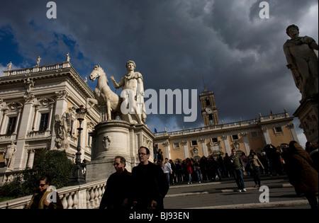 Statues of Castor and Pollux stand in the Piazza del Campidoglio square in Rome, March 8, 2008. Photo/Chico Sanchez - Stock Image