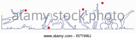 Continuous line drawing a various exercise and sporting activities - Stock Image