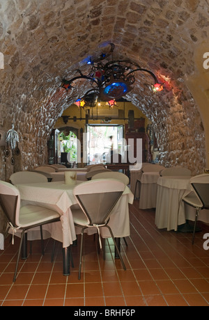 Vaulted stone ceiling in a restaurant Rethymno Crete Greece - Stock Image