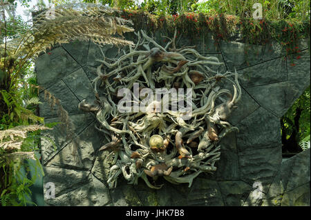 Wooden sculpture/carving in Gardens by the Bay, Singapore - Stock Image