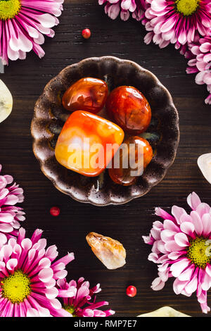 Carnelian and Citrine with Pink Mums on Dark Wood - Stock Image