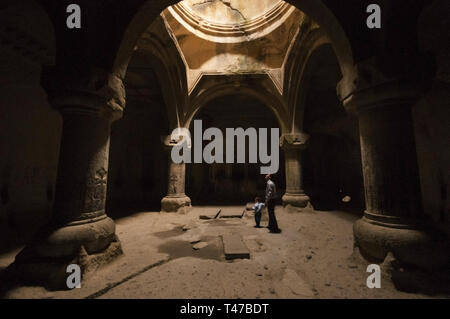 Armenia, Goght, rock-cut interior chamber at Geghard Monastery Complex,  founded 4th c by Gregory the Illuminator at the site of a sacred spring insid - Stock Image