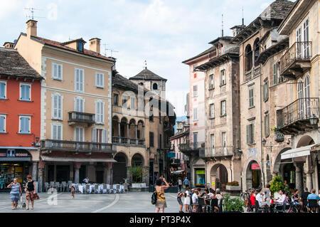 Piazza Mercato, the market square in Domodossola, Piedmont, Italy - Stock Image