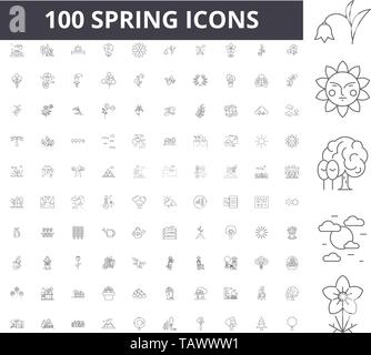 Spring line icons, signs, vector set, outline illustration concept  - Stock Image