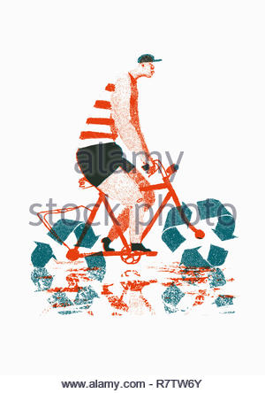 Man riding bike with recycling symbol wheels - Stock Image