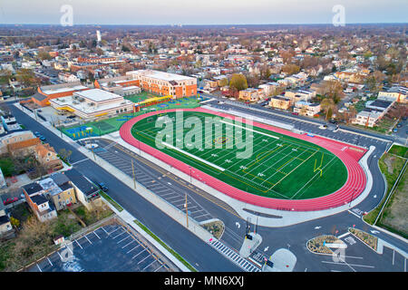 Aerial View Football Field - Stock Image