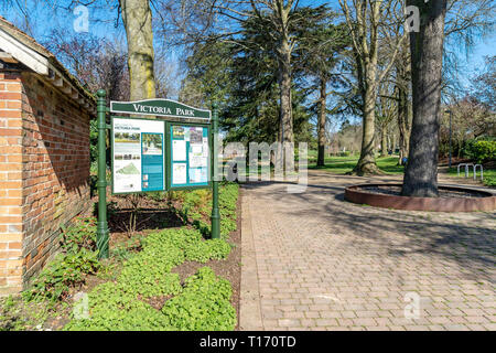 Notice board at the entrance to Victoria park Salisbury - Stock Image