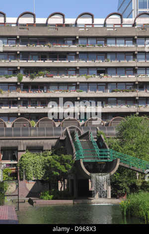 Waterside apartments at the Barbican Centre London - Stock Image