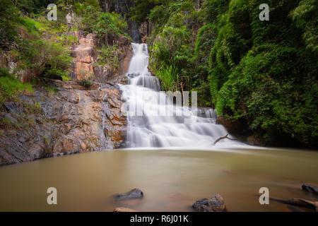 The second waterfall of the Datanla waterfalls accessible only by the elevator, Dalat, Vietnam - Stock Image