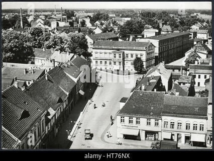 GERMANY - CIRCA 1966: A postcard printed in Germany, view of Platz der Jugend from the tower Marktturm, Luckenwalde, - Stock Image